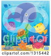 Clipart Of A Cartoon Happy Whale Fish Crab And A Turtle Underwater Royalty Free Vector Illustration