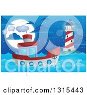 Clipart Of A Cartoon Tugboat Near A Lighthouse At Night Royalty Free Vector Illustration