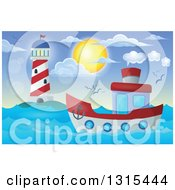 Clipart Of A Cartoon Tugboat Near A Lighthouse During The Day Royalty Free Vector Illustration