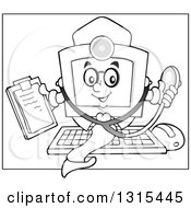Clipart Of A Cartoon Grayscale Desktop Doctor Computer Character Holding A Clipboard And Stethoscope Royalty Free Vector Illustration by visekart