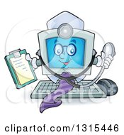 Clipart Of A Cartoon Desktop Doctor Computer Character Holding A Clipboard And Stethoscope Royalty Free Vector Illustration by visekart