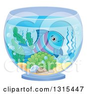 Clipart Of A Happy Blue And Purple Fish In A Bowl Royalty Free Vector Illustration