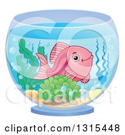 Clipart Of A Happy Pink Fish In A Bowl Royalty Free Vector Illustration