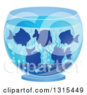 Clipart Of A Group Of Silhouetted Fish Swimming In A Bowl Royalty Free Vector Illustration