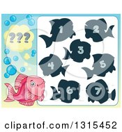 Clipart Of A Pink Fish And Riddle Game Royalty Free Vector Illustration