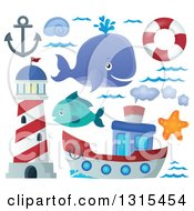Clipart Of A Cartoon Happy Spouting Whale Lighthouse Anchor Waves Life Buoy Starfish Fish And Boat Royalty Free Vector Illustration by visekart