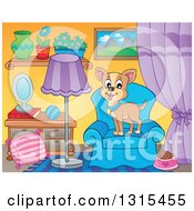 Clipart Of A Cartoon Happy Tan Chihuahua Dog On A Chair In A Living Room Royalty Free Vector Illustration