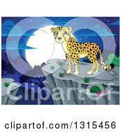Clipart Of A Cartoon Cheetah On A Cliff Over A Valley And A Full Moon At Night Royalty Free Vector Illustration