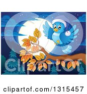 Clipart Of A Cartoon Blue Bird Wearing A Hat And Landing On An Autumn Branch Against A Forest And Full Moon At Night Royalty Free Vector Illustration by visekart