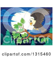 Clipart Of A Cartoon Bald Eagle Landing On A Branch Against A Forest And Full Moon At Night Royalty Free Vector Illustration