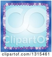 Clipart Of A Border Made Of Purple Flowers Around Blue Royalty Free Vector Illustration