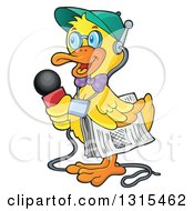 Cartoon Yellow Duck Reporter Holding A Microphone And Newspaper