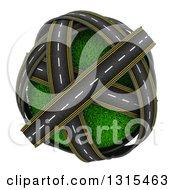 3d Roads Around A Grassy Planet On White