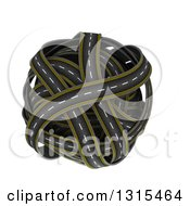 Clipart Of A 3d Globe Made Of Roads On White Royalty Free Illustration