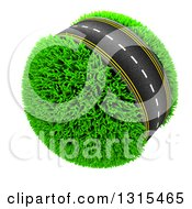 3d Roadway Around A Grassy Planet On White