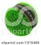 3d Roadway Around A Grassy Planet On White