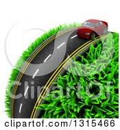 Clipart Of A 3d Road With A Red Car Around A Grassy Planet On White 2 Royalty Free Illustration