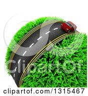 Clipart Of A 3d Road With A Red Car Around A Grassy Planet On White Royalty Free Illustration