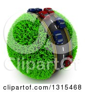 Clipart Of A 3d Road With Cars In Traffic Around A Grassy Planet On White Royalty Free Illustration