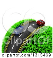 Clipart Of A 3d Road With Red And Blue Cars Around A Grassy Planet On White Royalty Free Illustration