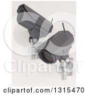 Clipart Of 3d Two Black HD CCTV Security Surveillance Cameras Mounted On A Wall On Off White 2 Royalty Free Illustration