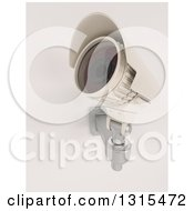 Clipart Of A 3d White HD CCTV Security Surveillance Camera Mounted On A Wall Pointing Upwards On Off White Royalty Free Illustration