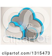 Clipart Of A 3d Cloud Drive And Combination Lock Icon On Shaded White Royalty Free Illustration