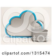Clipart Of A 3d Cloud Drive And Padlock Icon On Shaded White Royalty Free Illustration