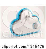 Clipart Of A 3d Cloud Drive Safe Vault Icon On Shaded White Royalty Free Illustration