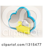 3d Cloud Drive And Document Folder Icon On Shaded White