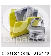 Clipart Of A 3d Yellow File Folder With Documents And Padlock On Shaded White Royalty Free Illustration