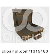 Clipart Of A 3d Open Brown Professional Briefcase On Shaded White Tilted To The Right Royalty Free Illustration
