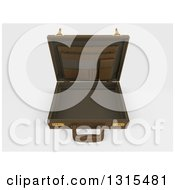 Clipart Of A 3d Open Brown Professional Briefcase On Shaded White Royalty Free Illustration