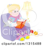 Clipart Of A Blond Caucasian Granny Sitting In A Chair And Reading A Book With A Kitten And Yarn At Her Feet Royalty Free Vector Illustration