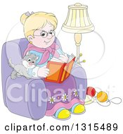 Blond White Granny Sitting In A Chair And Reading A Book With A Kitten And Yarn At Her Feet