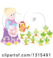Clipart Of A Blond Caucasian Granny Watering A Carrot And Turnip Garden Royalty Free Vector Illustration