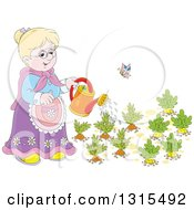 Cartoon Blond White Granny Watering A Carrot And Turnip Garden