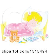 Clipart Of A Cartoon Blond Caucasian Girl Sleeping Peacefully In A Bed Royalty Free Vector Illustration