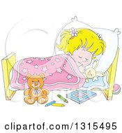 Clipart Of A Cartoon Blond White Girl Sleeping Peacefully In A Bed Royalty Free Vector Illustration by Alex Bannykh