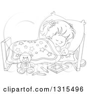 Clipart Of A Cartoon Black And White Girl Sleeping Peacefully In A Bed Royalty Free Vector Illustration