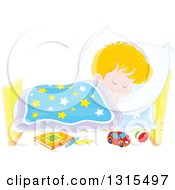 Clipart Of A Cartoon Blond Caucasian Boy Sleeping Peacefully In A Bed Royalty Free Vector Illustration