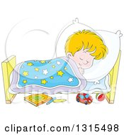 Clipart Of A Cartoon Blond White Boy Sleeping Peacefully In A Bed Royalty Free Vector Illustration by Alex Bannykh
