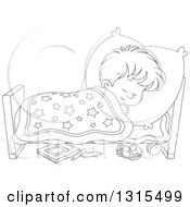 Clipart Of A Cartoon Black And White Boy Sleeping Peacefully In A Bed Royalty Free Vector Illustration