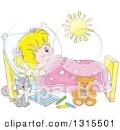 Clipart Of A Cartoon Blond White Girl In Bed Peeping With One Eye Open And A Cat At Her Side Royalty Free Vector Illustration