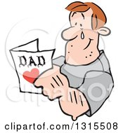 Clipart Of A Cartoon Caucasian Dad Tearing Up And Reading A Fathers Day Card Royalty Free Vector Illustration by Johnny Sajem