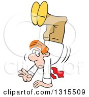 Clipart Of A Cartoon Uncertain Red Haired Caucasian Businessman Walking On His Hands Royalty Free Vector Illustration