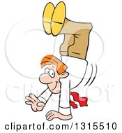 Cartoon Happy Red Haired Caucasian Businessman Walking On His Hands