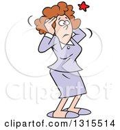 Cartoon Brunette Caucasian Business Woman Grabbing Her Aching Head