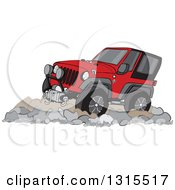 Clipart Of A Cartoon Red Jeep Wrangler SUV On Rocks Royalty Free Vector Illustration