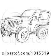 Outline Clipart Of A Cartoon Black And White Jeep Wrangler SUV On Rocks Royalty Free Lineart Vector Illustration